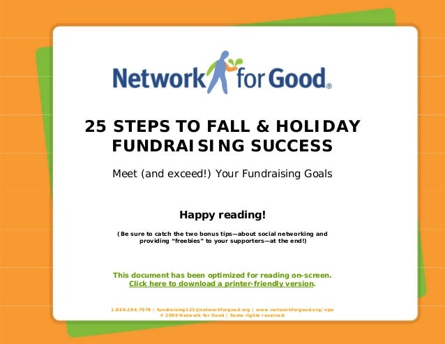 1.888.284.7978 | fundraising123@networkforgood.org | www.networkforgood.org/npo © 2009 Network for Good | Some rights rese...