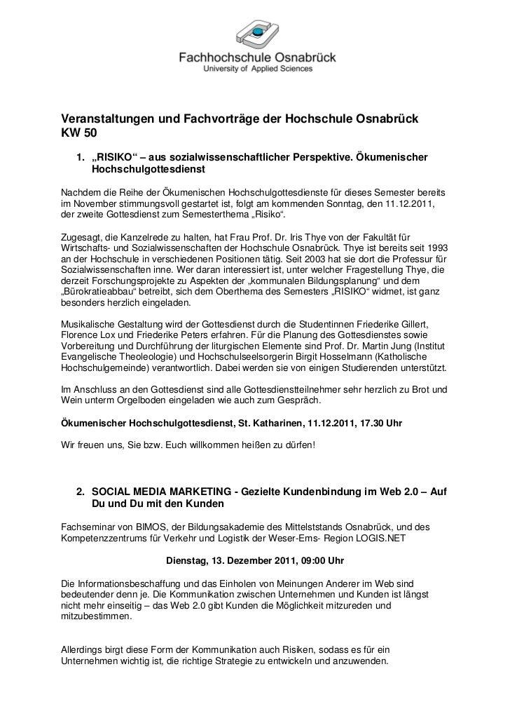 """Veranstaltungen und Fachvorträge der Hochschule OsnabrückKW 50   1. """"RISIKO"""" – aus sozialwissenschaftlicher Perspektive. Ö..."""