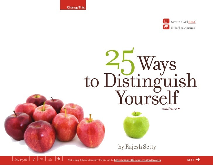 25 Ways To Distinguish Yourself