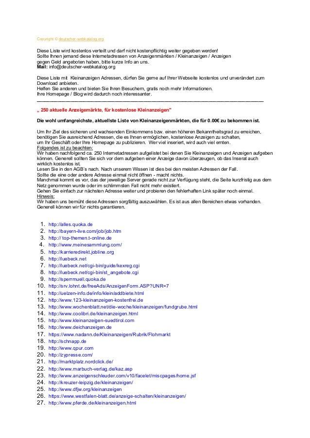 Copyright © deutscher-webkatalog.orgDiese Liste wird kostenlos verteilt und darf nicht kostenpflichtig weiter gegeben werd...