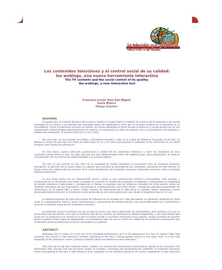 Los contenidos televisivos y el control social de su calidad: los weblogs, una nueva herramienta interactiva (2005)