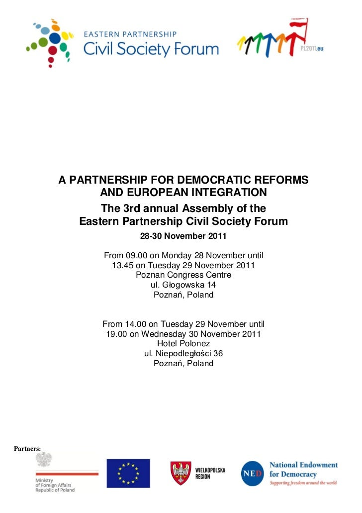A PARTNERSHIP FOR DEMOCRATIC REFORMS                  AND EUROPEAN INTEGRATION                   The 3rd annual Assembly o...