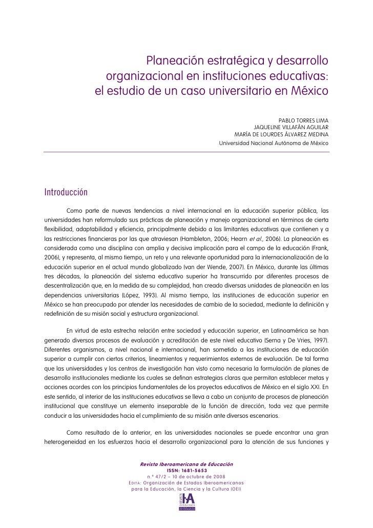 Planeación estratégica y desarrollo                      organizacional en instituciones educativas:                   el ...