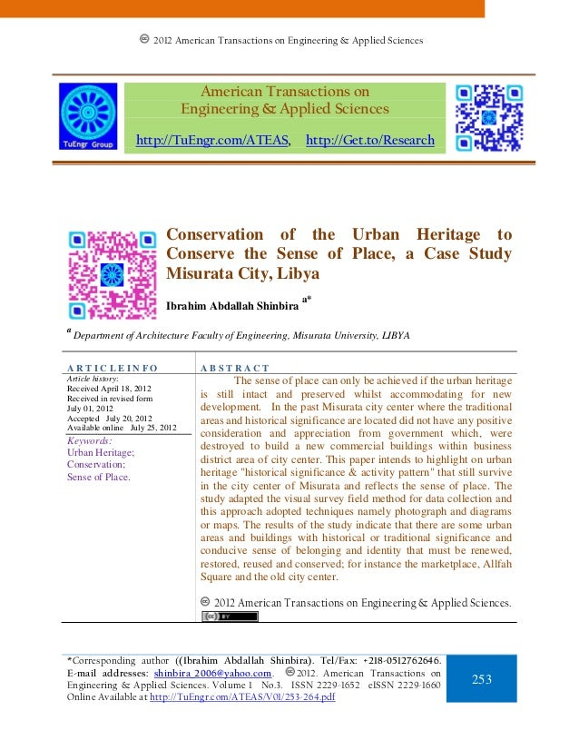Conservation of the Urban Heritage to Conserve the Sense of Place, a Case Study Misurata City, Libya