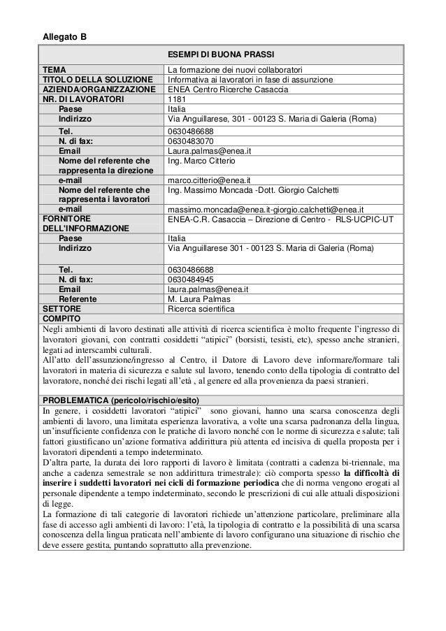 Allegato B ESEMPI DI BUONA PRASSI TEMA La formazione dei nuovi collaboratori TITOLO DELLA SOLUZIONE Informativa ai lavorat...