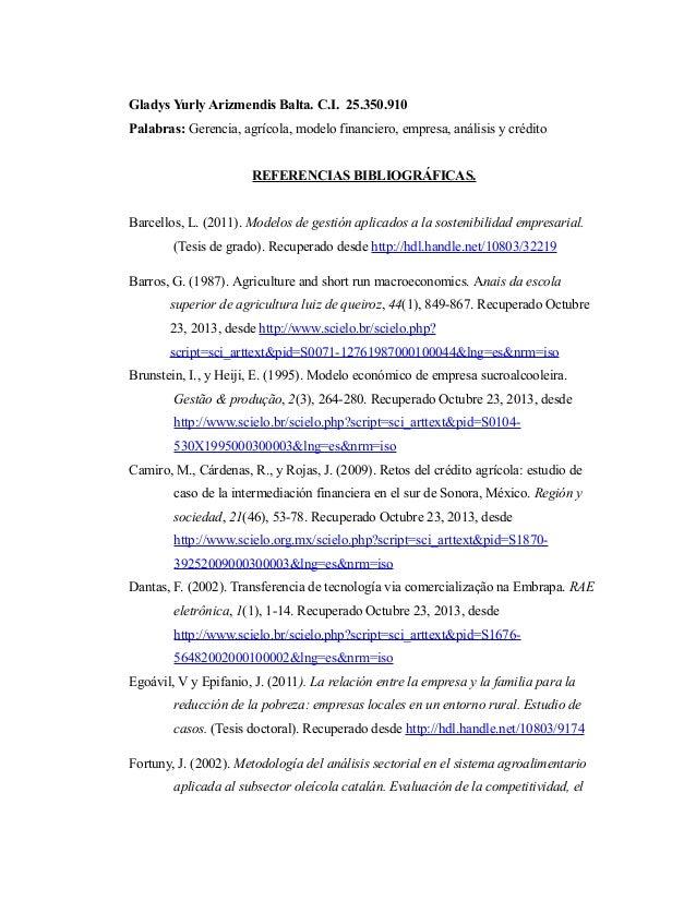 Gladys Yurly Arizmendis Balta. C.I. 25.350.910 Palabras: Gerencia, agrícola, modelo financiero, empresa, análisis y crédit...