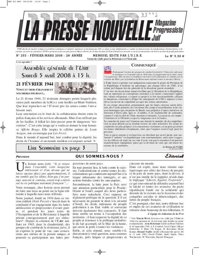 PNM 253 BON  28/02/08  12:34  Page 1  LA PRESSE NOUVELLE  Magazine Progressiste Juif  PNM aborde de manière critique les p...