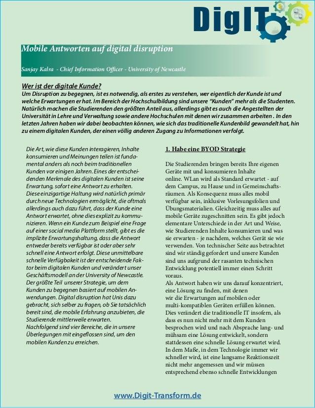 Mobile Antworten auf digital disruption Sanjay Kalra - Chief Information Officer - University of Newcastle Wer ist der dig...