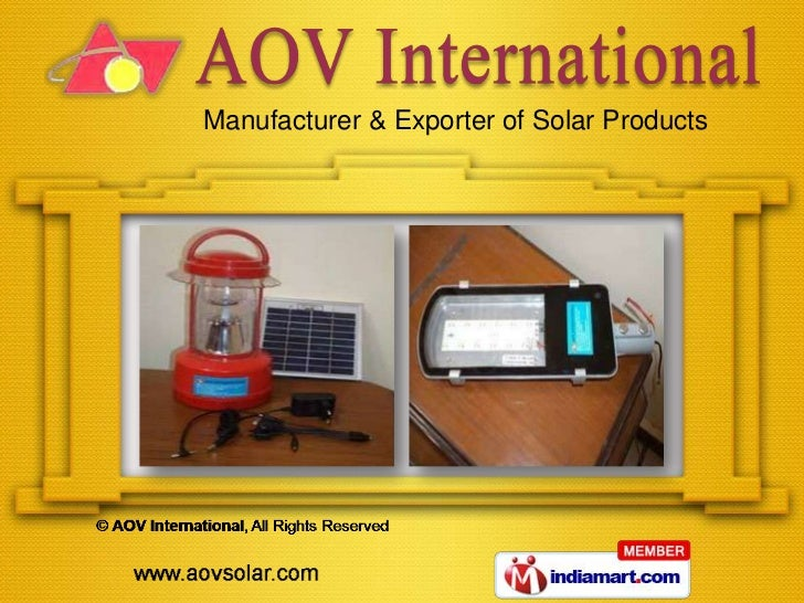 Manufacturer & Exporter of Solar Products
