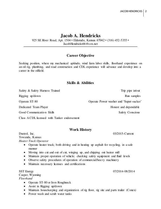 oilfield resume