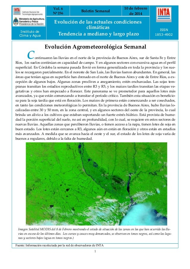 Vol. 6 Nº 256  Instituto de Clima y Agua  Boletín Semanal  10 de febrero de 2014  Evolución de las actuales condiciones cl...