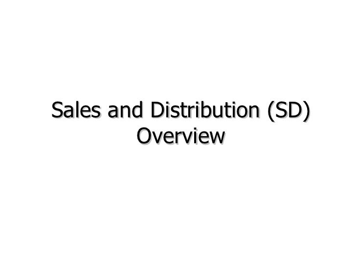 Sales and Distribution (SD) Overview