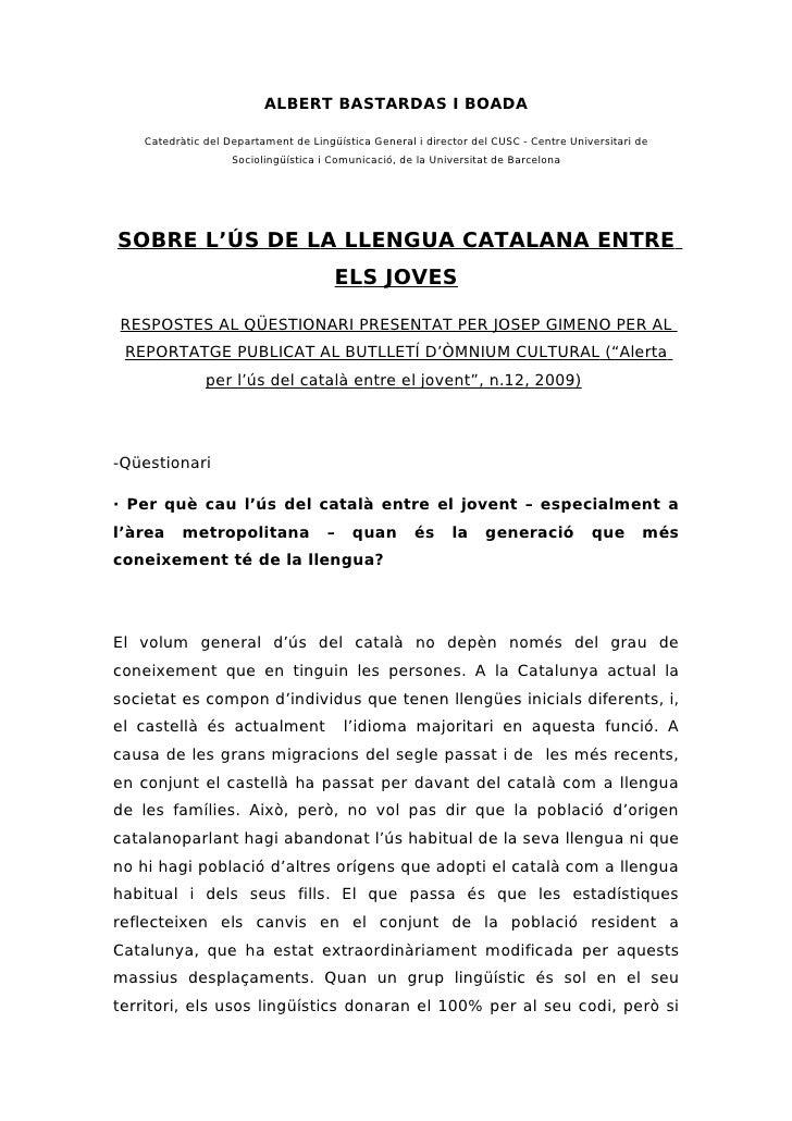 25868663 Sobre L Us De La Llengua Catalana Entre Els Joves