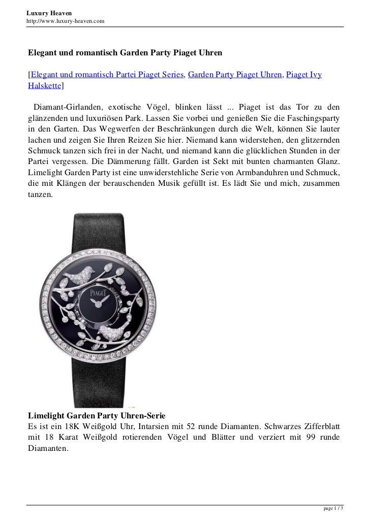 Luxury Heavenhttp://www.luxury-heaven.comElegant und romantisch Garden Party Piaget Uhren[Elegant und romantisch Partei Pi...