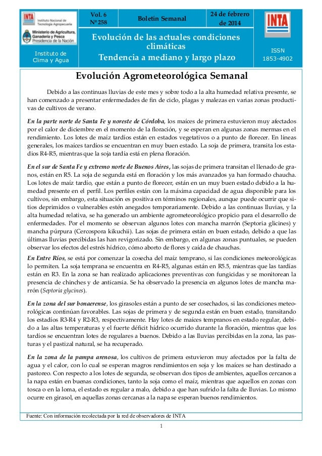 Vol. 6 Nº 258  Instituto de Clima y Agua  Boletín Semanal  24 de febrero de 2014  Evolución de las actuales condiciones cl...