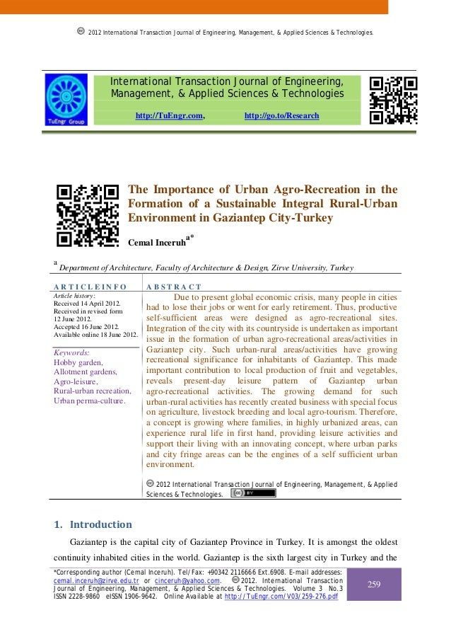 The Importance of Urban Agro-Recreation in the Formation of a Sustainable Integral Rural-Urban Environment in Gaziantep City-Turkey