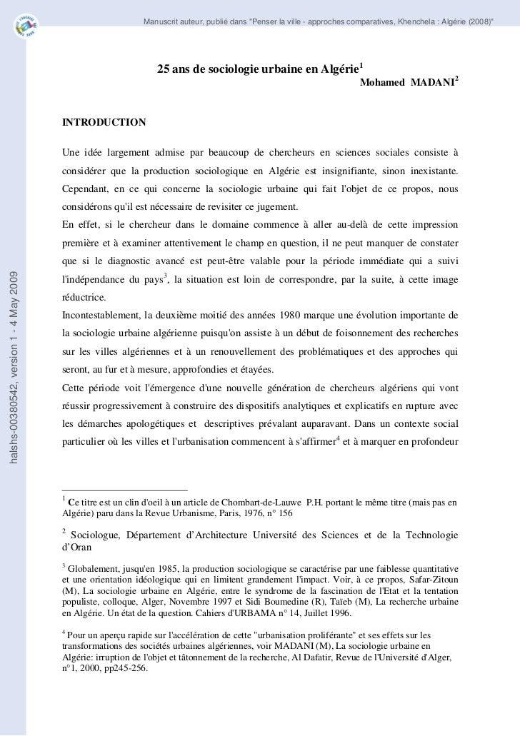 25ans de sociologie urbaine en algerie