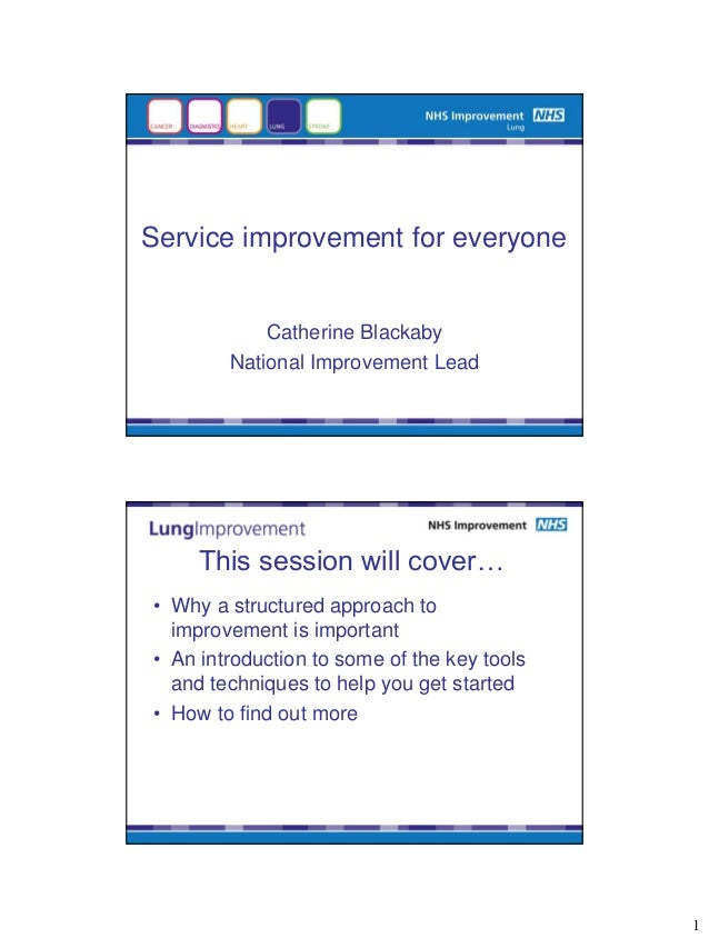 Service improvement for everyone            Catherine Blackaby        National Improvement Lead     This session will cove...