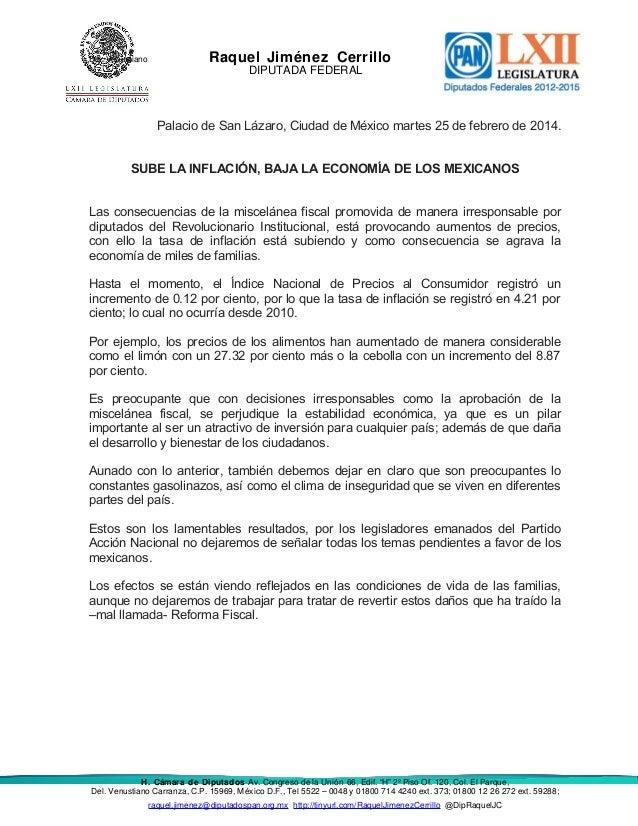 Del. Venustiano  Raquel Jiménez Cerrillo DIPUTADA FEDERAL  Palacio de San Lázaro, Ciudad de México martes 25 de febrero de...