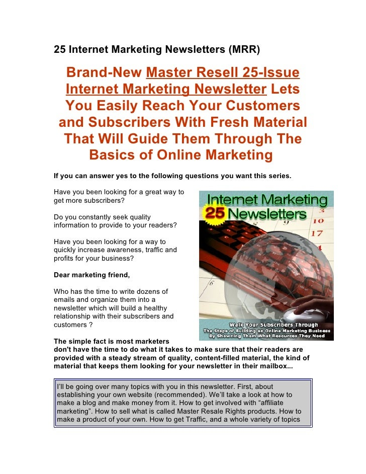 25 Internet Marketing Newsletters