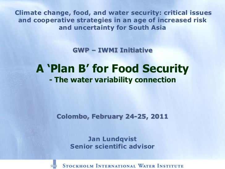 A 'Plan B' for Food Security - The water variability connection, by Jan Lundqvist, Senior scientific advisor