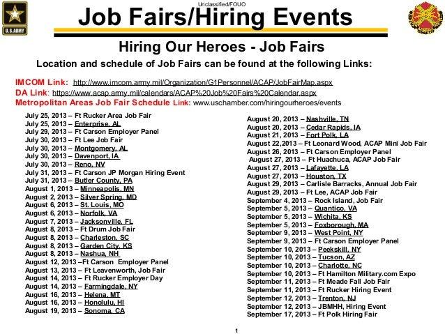 Unclassified/FOUO 1 Hiring Our Heroes - Job Fairs July 25, 2013 – Ft Rucker Area Job Fair July 25, 2013 – Enterprise, AL J...