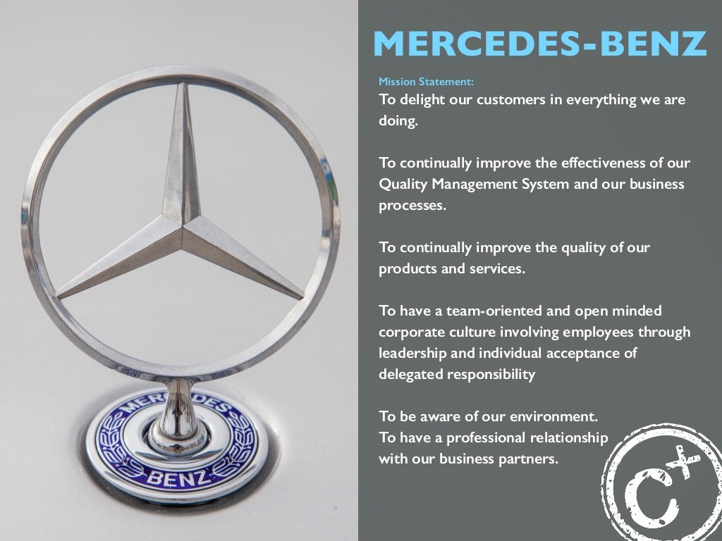 Mercedes benz mission statement to delight for Mercedes benz service charges
