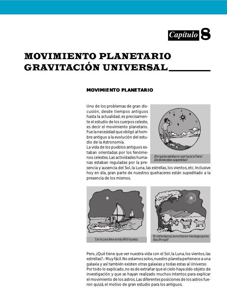 Capítulo                      8MOVIMIENTO PLANETARIOGRAVITACIÓN UNIVERSAL                   PLANETARIO        MOVIMIENTO P...