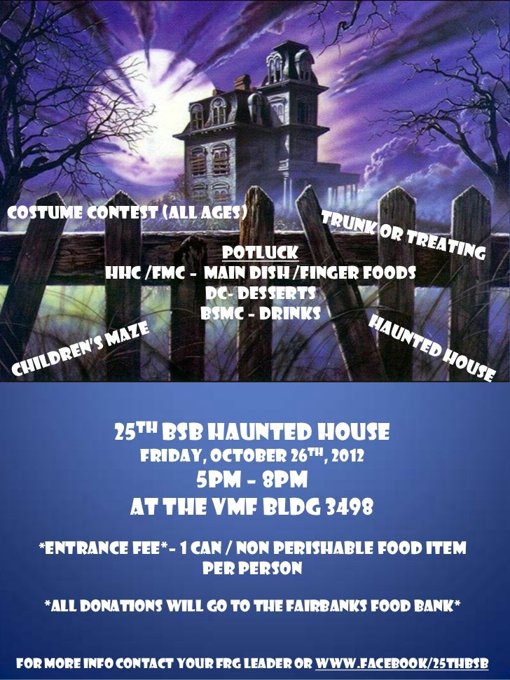 Costume Contest (all ages)                        Potluck            HHc /FMC – Main Dish /Finger Foods                   ...