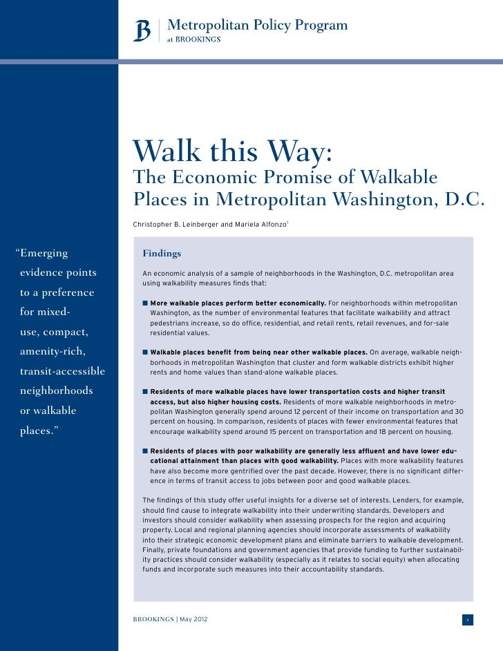 Walk this Way:                     The Economic Promise of Walkable                     Places in Metropolitan Washington,...