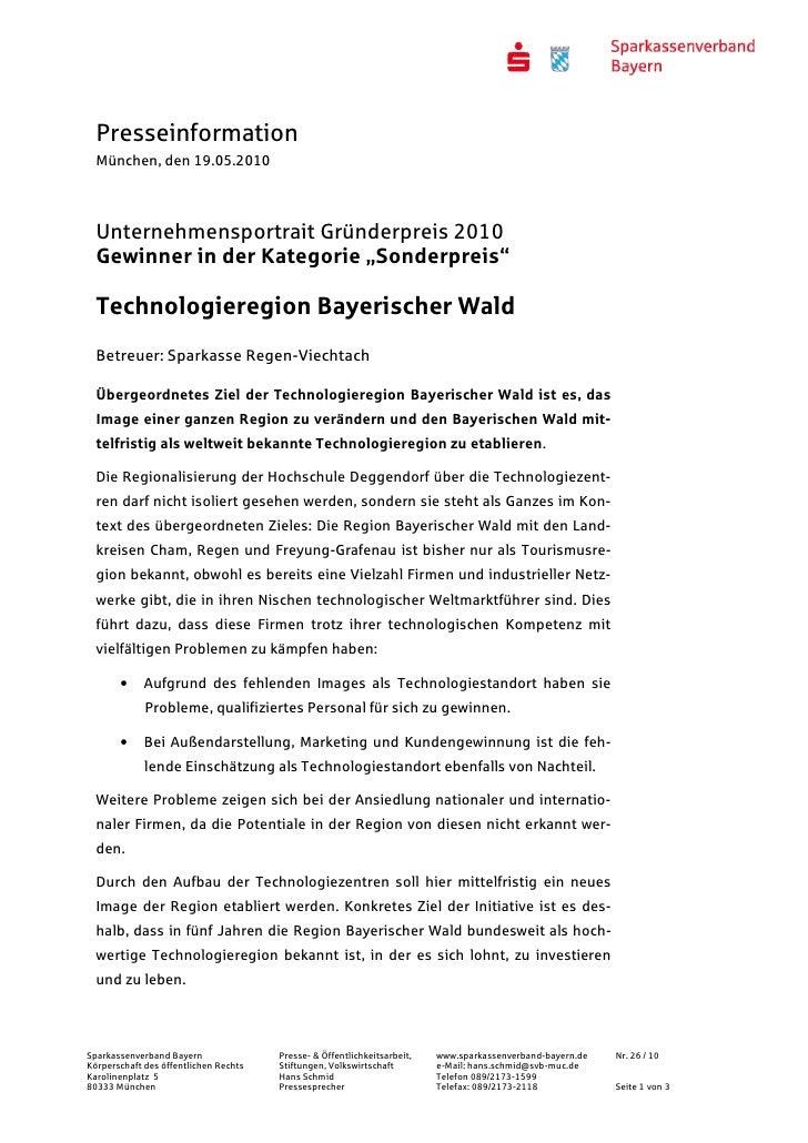 """Presseinformation  München, den 19.05.2010  Unternehmensportrait Gründerpreis 2010  Gewinner in der Kategorie """"Sonderpreis..."""