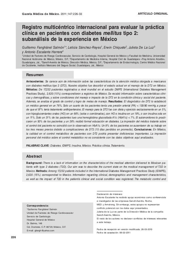 Registro multicéntrico internacional para evaluar la práctica clínica en pacientes con diabetes mellitus tipo 2: subanálisis de la experiencia en México