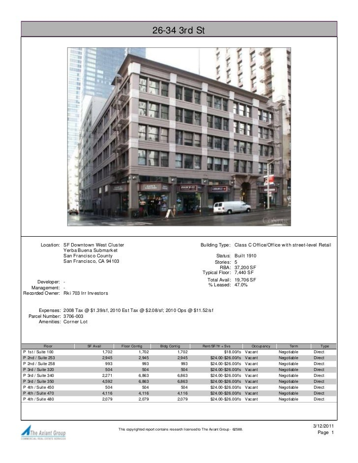 26-34 3rd St           Location: SF Downtown West Cluster                                                       Building T...
