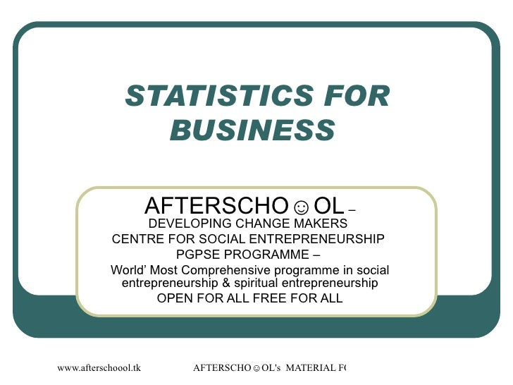 26  August Statistics For Business