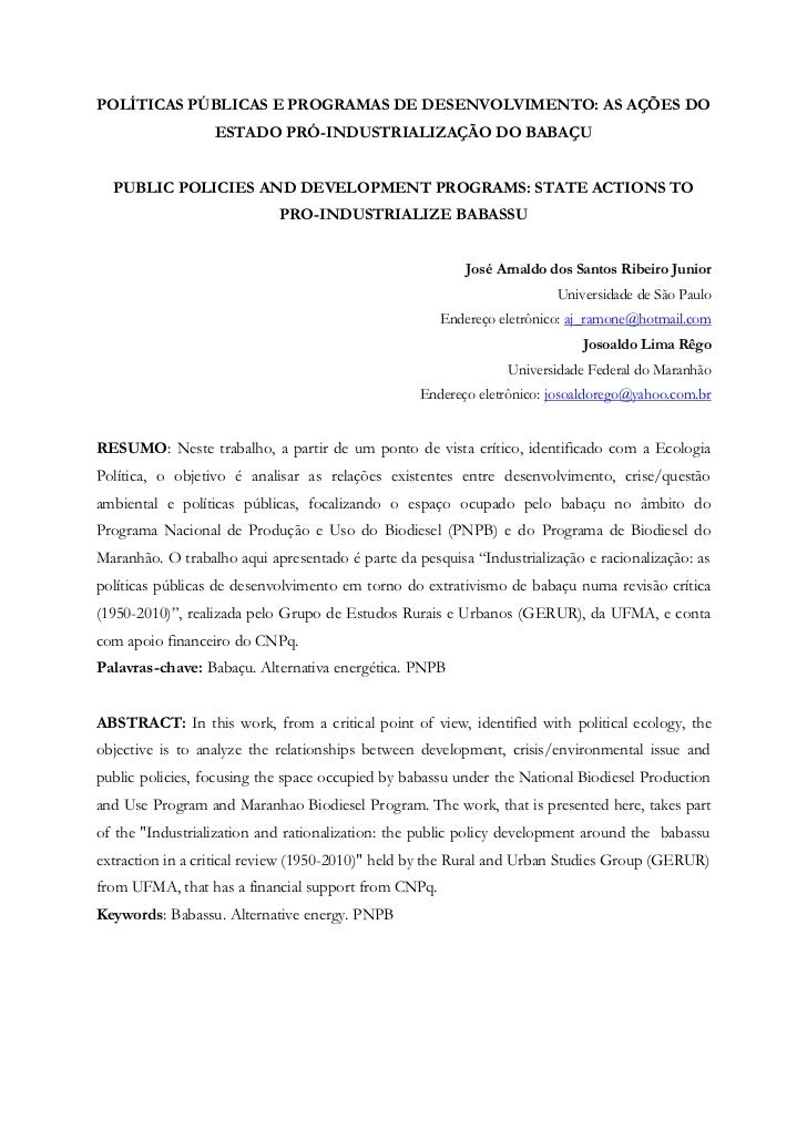 POLÍTICAS PÚBLICAS E PROGRAMAS DE DESENVOLVIMENTO: AS AÇÕES DO ESTADO PRÓ-INDUSTRIALIZAÇÃO DO BABAÇU