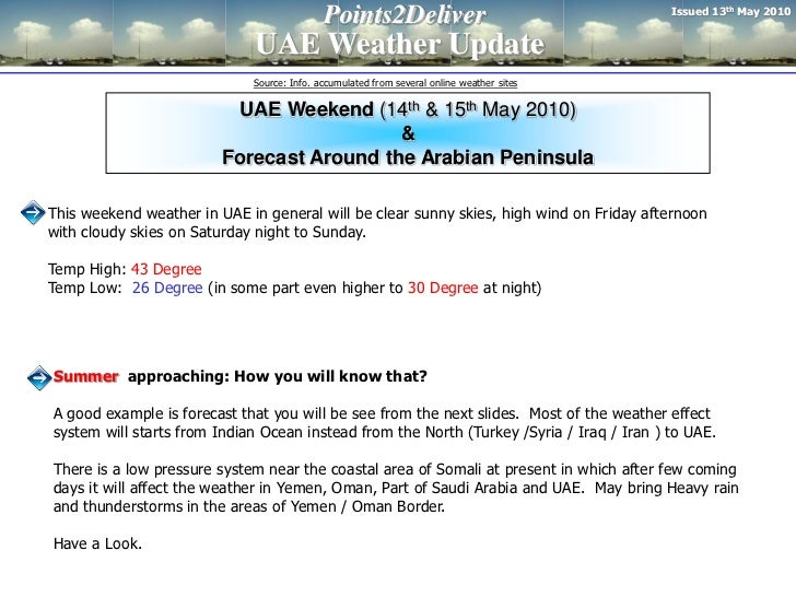 Issued 13th May 2010                                            Points2Deliver                             UAE Weather Upd...