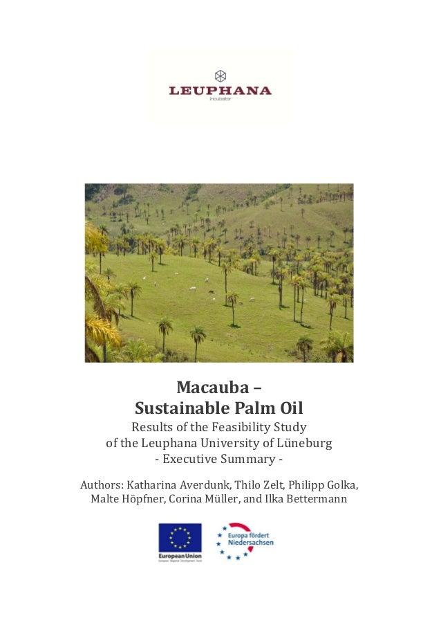 Macauba– SustainablePalmOil ResultsoftheFeasibilityStudy oftheLeuphanaUniversityofLüneburg ‐ ExecutiveSummary...