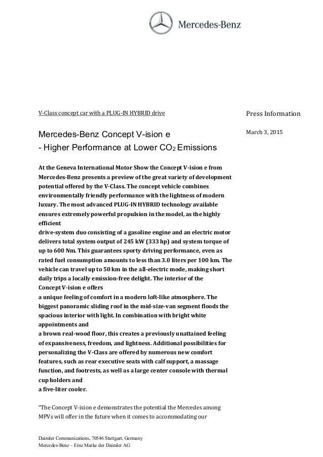 2016 mercedes benz v class concept vision press release for Mercedes benz press release