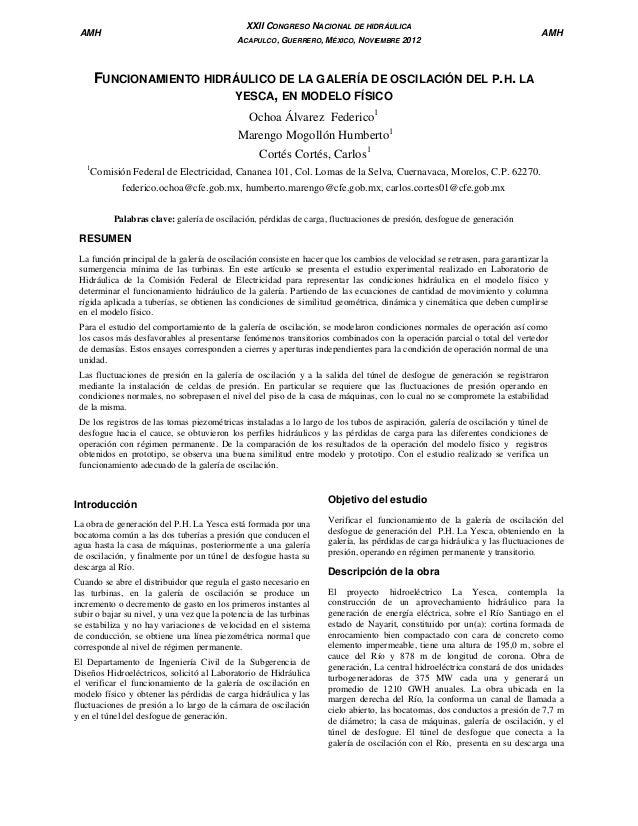 XXII CONGRESO NACIONAL DE HIDRÁULICA  AMH  ACAPULCO, GUERRERO, MÉXICO, NOVIEMBRE 2012  AMH  FUNCIONAMIENTO HIDRÁULICO DE L...