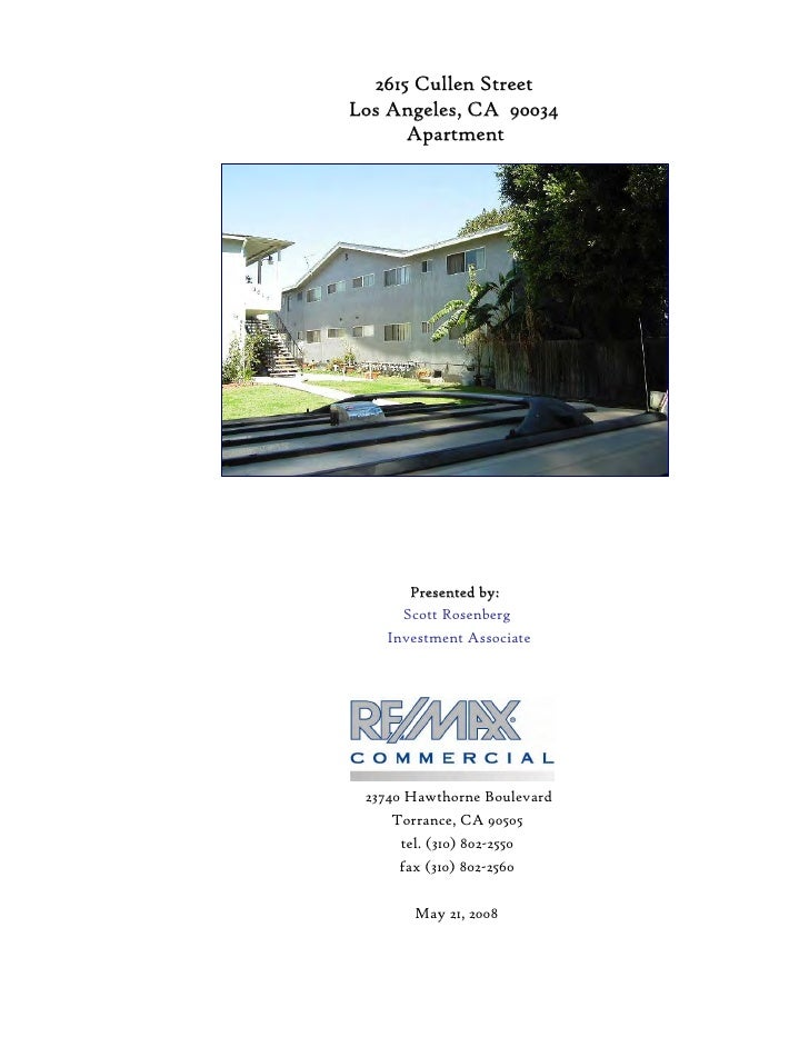 2615 Cullen Street Los Angeles, CA 90034       Apartment            Prepared for:  Holbrook Investments, LLC          Pres...