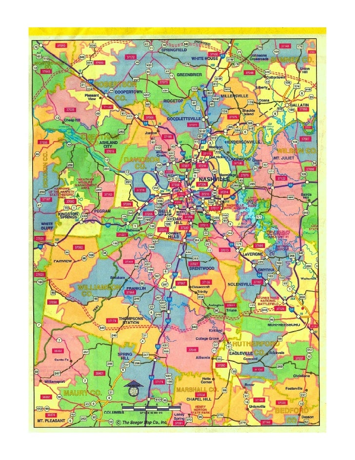 Nashville Zip Code Map