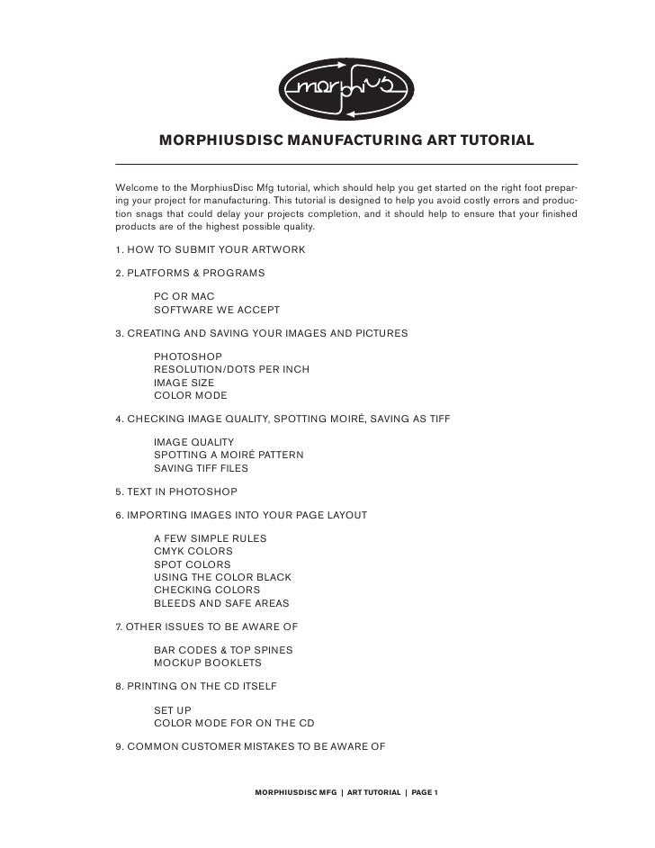 MORPHIUSDISC MANUFACTURING ART TUTORIAL   Welcome to the MorphiusDisc Mfg tutorial, which should help you get started on t...