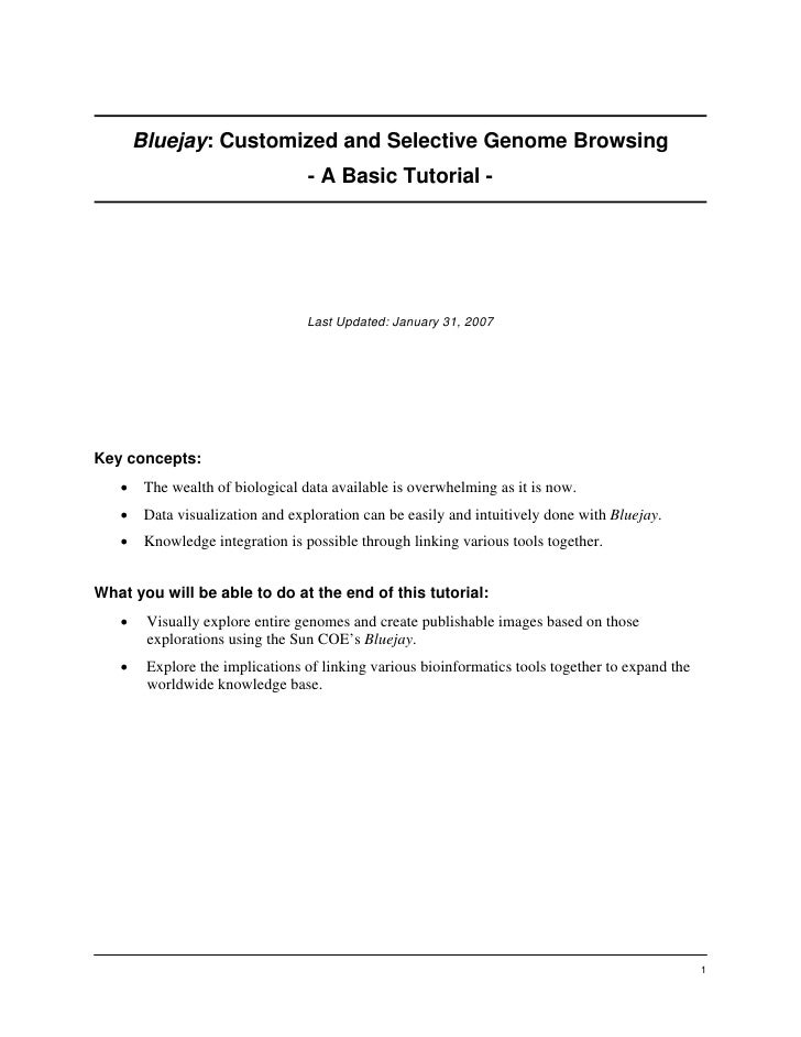 Bluejay: Customized and Selective Genome Browsing                                   - A Basic Tutorial -                  ...