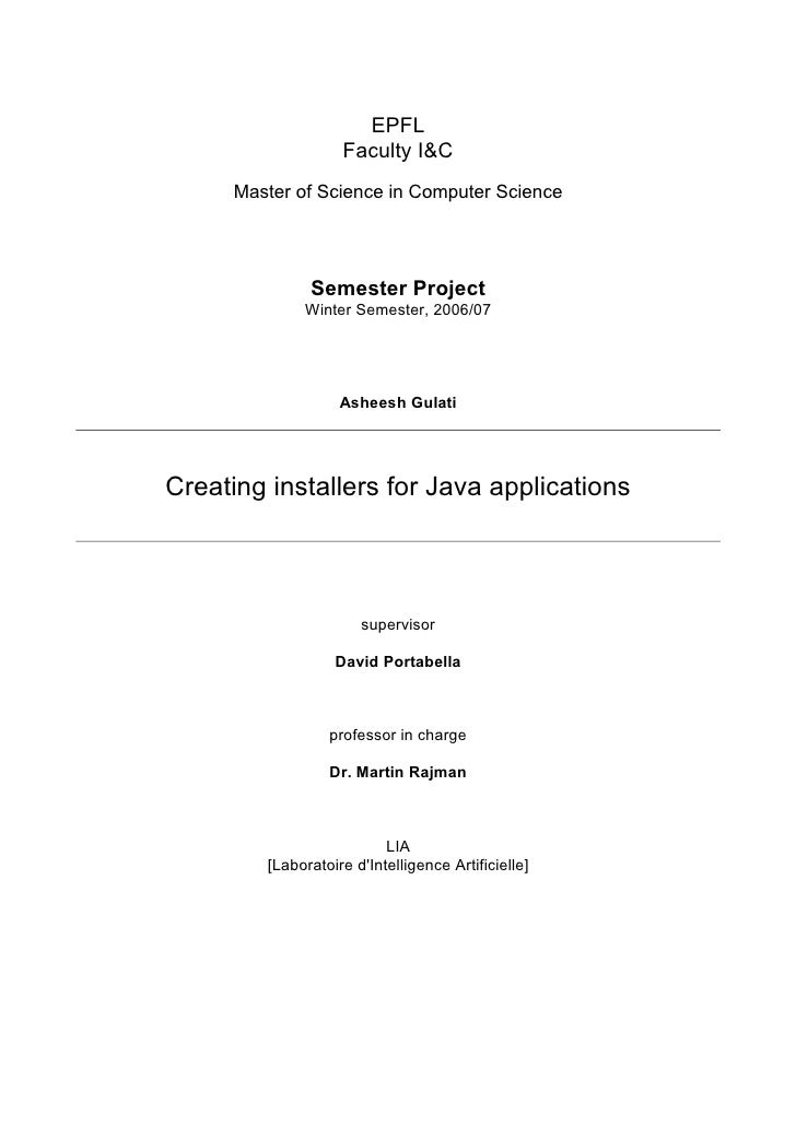 EPFL                     Faculty I&C       Master of Science in Computer Science                    Semester Project      ...