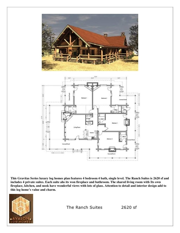 This Gravitas Series luxury log homes plan features 4 bedroom 4 bath, single level. The Ranch Suites is 2620 sf and includ...