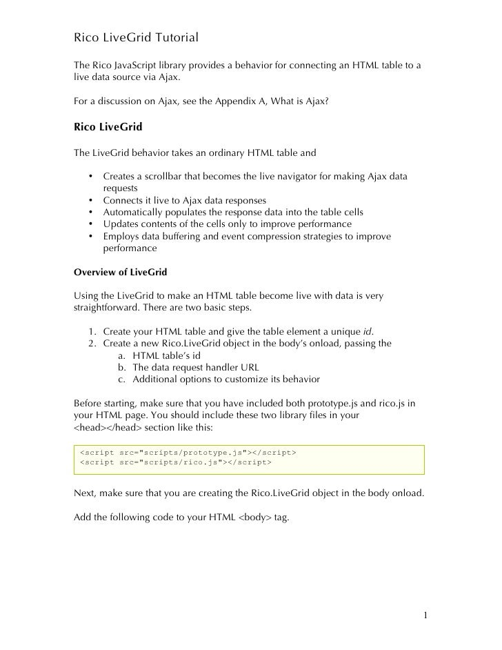 Rico LiveGrid Tutorial  The Rico JavaScript library provides a behavior for connecting an HTML table to a live data source...