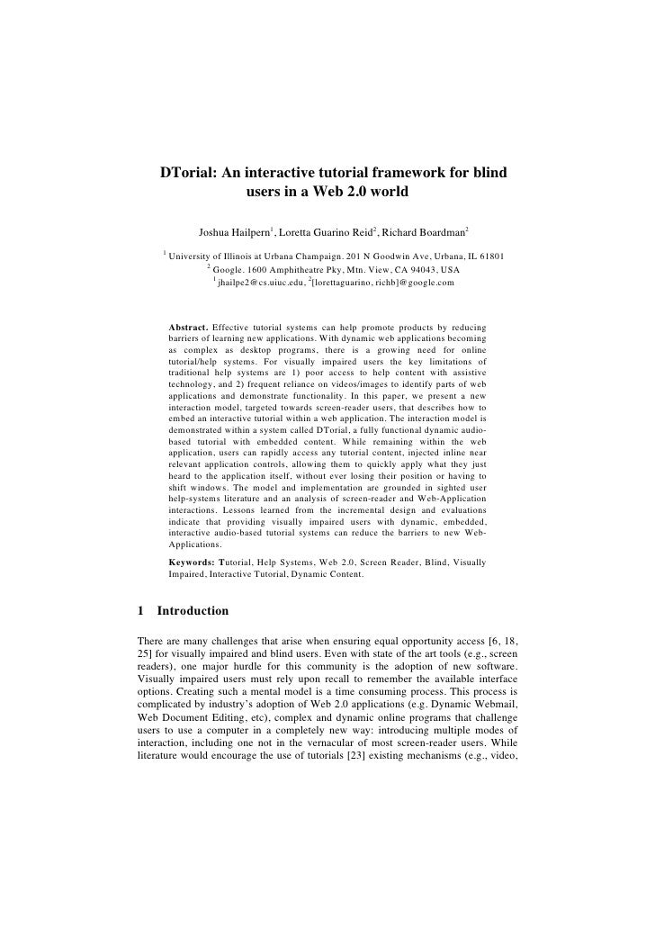 DTorial: An interactive tutorial framework for blind                  users in a Web 2.0 world                  Joshua Hai...
