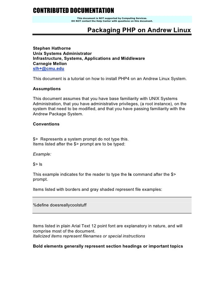 CONTRIBUTED DOCUMENTATION                          This document is NOT supported by Computing Services.                  ...
