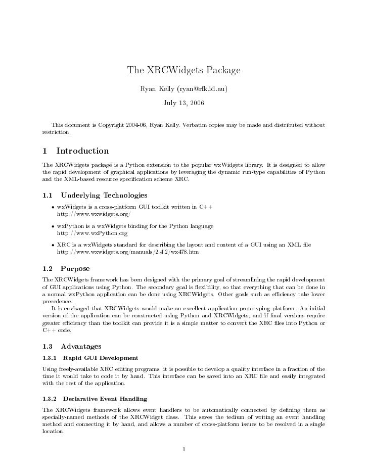 The XRCWidgets Package                                       Ryan Kelly (ryan@rfk.id.au)                                  ...