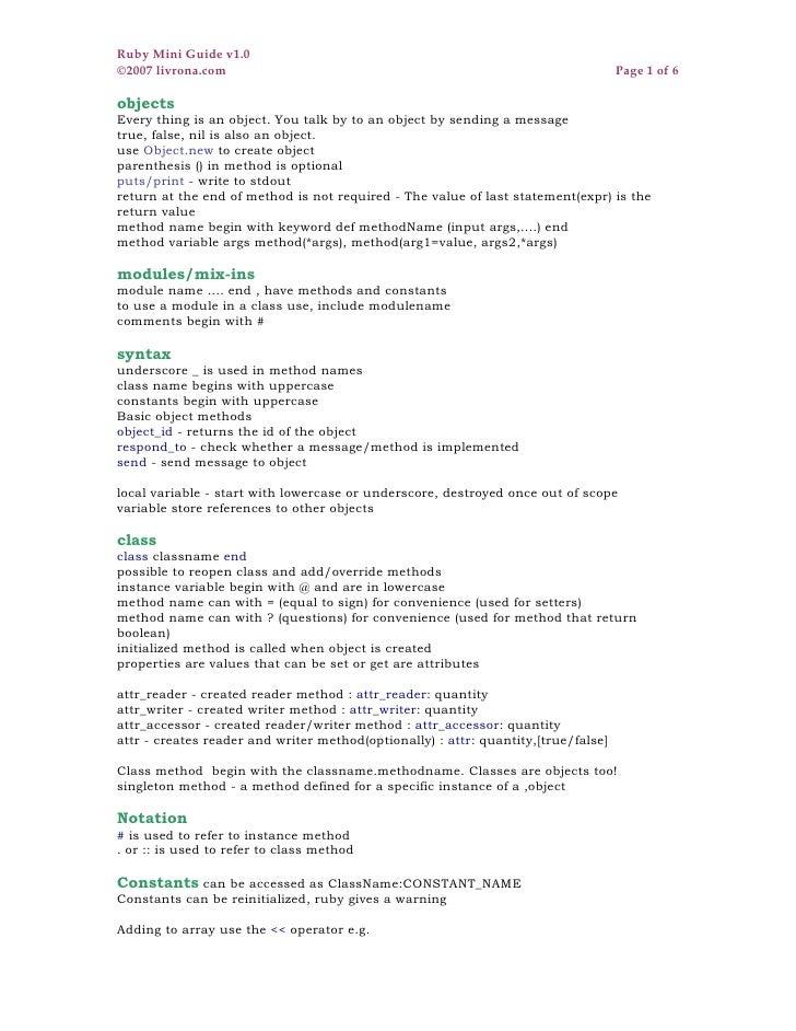Ruby Mini Guide v1.0 ©2007 livrona.com                                                                   Page 1 of 6  obje...
